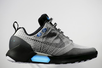 The Nike HyperAdapt 1.0 self-lacing shoe is displayed during a Nike unveiling event in New York,