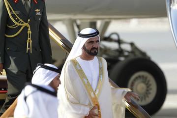 United Arab Emirates' Vice President and Prime Minister and Ruler of Dubai Sheikh Mohammed bin Rashid al-Maktoum arrives for the GCC summit, in Sakhir Airport, south of Manama