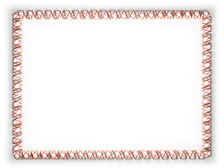 Frame and border of ribbon with the state Alabama flag, USA, edging from the golden rope. 3d illustration