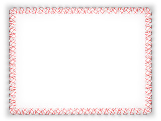 Frame and border of ribbon with the state Alabama flag, USA. 3d illustration