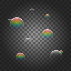 Set of realistic transparent colorful soap bubbles with rainbow reflection. Isolated vector illustration.
