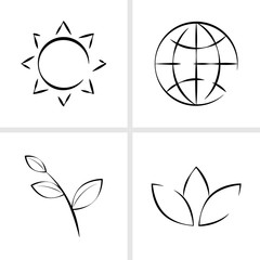 Set of world environment day vector icons. Flat outline illustration isolated on white background.
