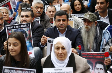 Selahattin Demirtas, co-chairman of the pro-Kurdish Peoples' Democratic Party (HDP), joins Saturday Mothers during their 553rd gathering at Galatasaray square in Istanbul, Turkey