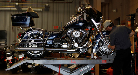 Technician Chris Bailey services a Harley-Davidson Classic at Harley-Davidson of Frederick in Frederick Maryland