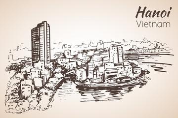 Hanoi cityscape Vietnam. Sketch.