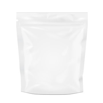 White Blank Sealed Foil Food Pouch Bag Pack Vector EPS10