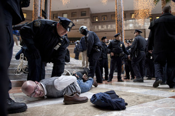 A protestor affiliated with the Occupy Wall Street movement is arrested in the center of Winter Garden Atrium, in Three World Financial Center in New York, December 12, 2011.