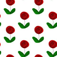 Seamless floral repetitive pattern hand drawn abstract roses green leaves white background, textile, quilt, silk, scrapbooking