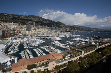 A general view shows luxury boats in Monaco port during the 25th Monaco Yacht show in Monaco