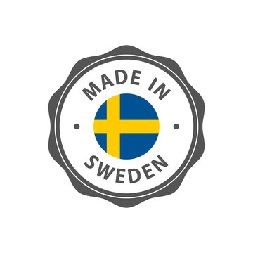 """""""Made in Sweden"""" badge with Swedish flag"""