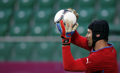 Czech Republic's Cech attends training session ahead of Euro 2012 at city stadium in Wroclaw