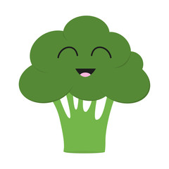 Broccoli icon. Green color. Vegetable collection. Fresh farm healthy food. Smiling face. Cute cartoon character. Education card for kids. Flat design. White background. Isolated.