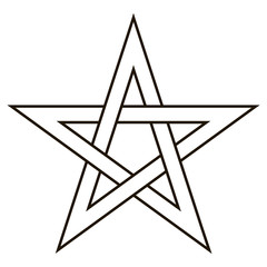 Pentagram five end star with weave sides, sector symbol dark forces