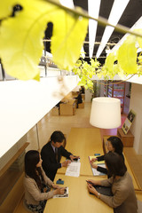 Employees hold a meeting under a passion fruit leaves grown inside an office of Pasona Group during a photo opportunity in Tokyo