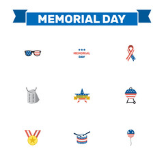 Flat Barbecue, Spectacles, Decoration And Other Vector Elements. Set Of Memorial Flat Symbols Also Includes Tag, American, Medallion Objects.