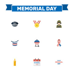 Flat Fire Wax, Hat, Awareness And Other Vector Elements. Set Of Day Flat Symbols Also Includes Military, Drum, Usa Objects.