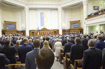 Guests and deputies stand during the inauguration ceremony of Ukraine's president-elect Poroshenko in Kiev