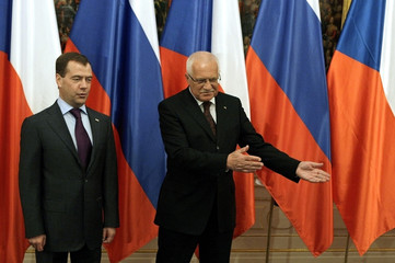 Czech Republic's President Vaclav Klaus welcomes Russia's President Dmitry Medvedev at Prague Castle in Prague