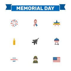 Flat Aircraft, Military Man, Memorial Day And Other Vector Elements. Set Of Day Flat Symbols Also Includes Brazier, Firework, Bbq Objects.