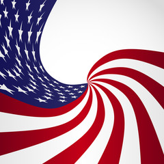 Vector Image of American Flag, Symbol USA on a White Background, Stars and Stripes Illustration.