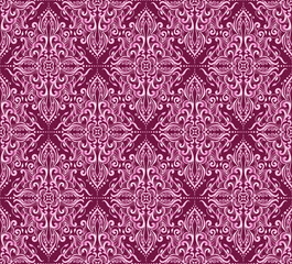 Seamless pink damask pattern on a dark background.