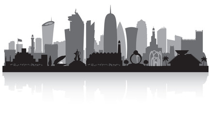 Wall Mural - Doha Qatar city skyline silhouette