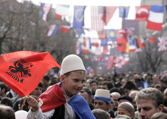 Kosovo's ethnic Albanians celebrate the third anniversary of Kosovo's declaration of independence from Serbia