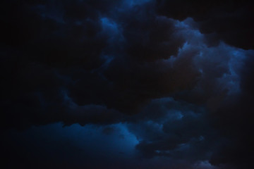 Aluminium Prints Night Dark sky and black clouds at night, Dark storm and rainy at night