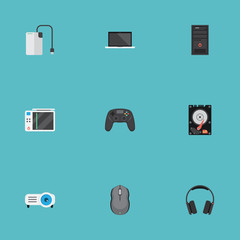 Flat Storage Device, System Unit, Presentation And Other Vector Elements. Set Of Laptop Flat Symbols Also Includes Cable, Unit, Earmuff Objects.