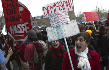 CEGEP and university students and teachers protest against higher tuition fees in Montreal.