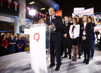 Polish President Komorowski gives speech after announcement of first exit polls in the first round of Polish presidential elections in Warsaw