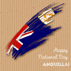 Anguilla Independence Day Patriotic Design. Expressive Brush Stroke in National Flag Colors on kraft paper background. Happy Independence Day Anguilla Vector Greeting Card.