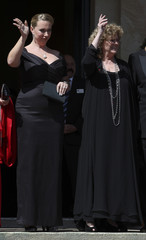 Katharina Wagner and Eva Wagner-Pasquier arrive on the red carpet for the opening of the Bayreuth Wagner opera festival outside the Gruener Huegel (Green Hill) opera house in Bayreuth