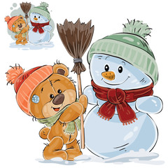 Vector illustration of a brown teddy bear makes a snowman. Print, template, design element