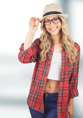 Portrait of female wearing sun hat and plaid shirt