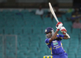Sri Lanka's Jayawardene plays a shot during their one-day international cricket match against Australia in Sydney