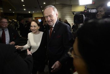 Jean Chretien and his wife Aline arrive at the 50 Years of Standing Up for Canada event in Toronto