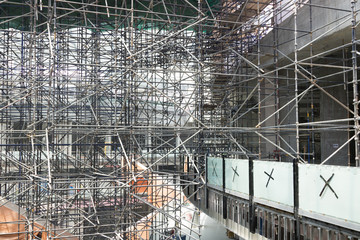 Big mall construction site, industry and architecture concepts
