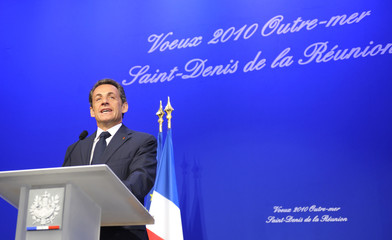 France's President Nicolas Sarkozy delivers a speech during a New Year wishes ceremony in Saint Pierre on the French overseas territory of La Reunion