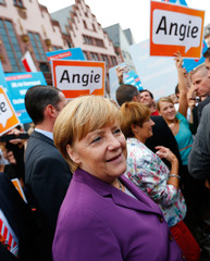 German Chancellor and CDU leader Merkel arrives for an election campaign rally in Frankfurt
