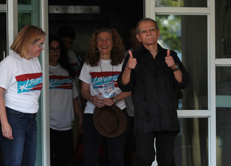 Puerto Rican Oscar Lopez Rivera gestures after being released from house arrest in San Juan