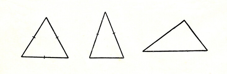 Triangles by lengths of sides; from left - equilateral triangle, isosceles triangle, scalene triangle