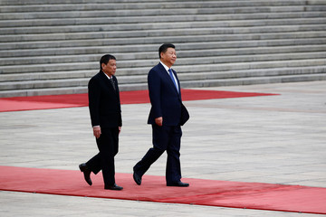 President of the Philippines Rodrigo Duterte and Chinese President Xi Jinping attend a welcoming ceremony at the Great Hall of the People in Beijing