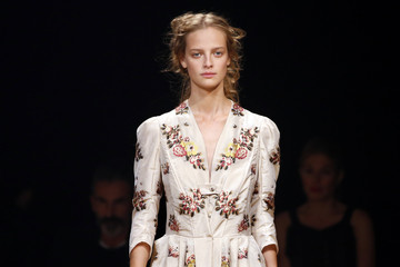A model presents a creation by designer Sarah Burton for Alexander McQueen fashion house as part the Spring/Summer 2016 women's ready-to-wear collection during Fashion Week in Paris