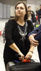 Amanda Knox's mother Edda waits at the check in at the Leonardo Da Vinci airport in Fiumicino
