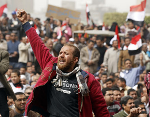 A man holds up his fist during a pro-democracy rally at Tahrir Square, in Cairo