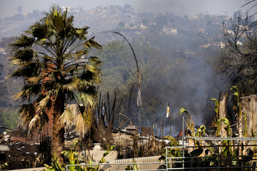 A home that has been burnt down by wildfires is seen on Phoenix Way in San Marcos, California