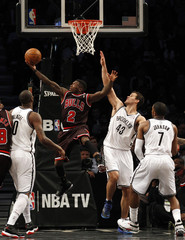 Chicago Bulls point guard Robinson drives to the basket against the Brooklyn Nets in the second half of their NBA basketball game in New York