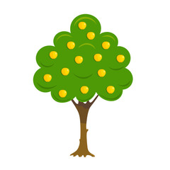 Abstract cardboard tree apple tree on a white background. Apple tree with ripe apples. Flat simple illustration. Vector Image