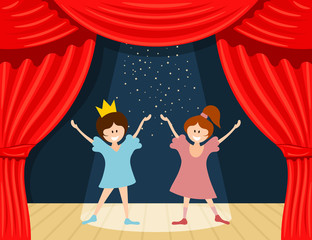Abstract children's theater. Little girls on the stage of the theater. The play in the kindergarten. Vector illustration